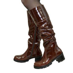 Сапоги коричневые кожаные женские зима осень, на каблуке