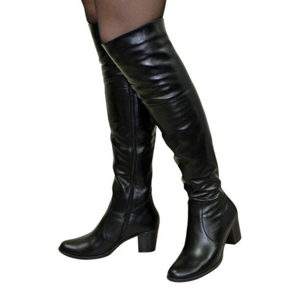 Ботфорты зимние кожаные на каблуке