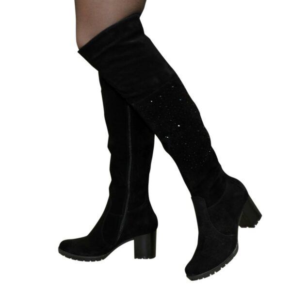 Ботфорты зимние замшевые на устойчивом каблуке, цвет черный