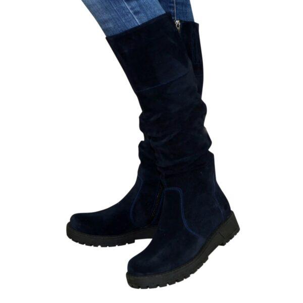 Сапоги синие демисезонные замшевые женские на утолщенной подошве