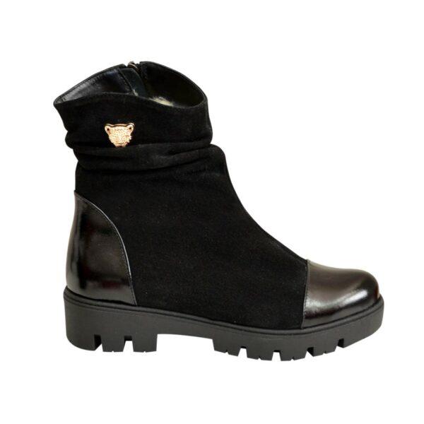Ботинки женские зимние на тракторной подошве, натуральная черная замша и лак