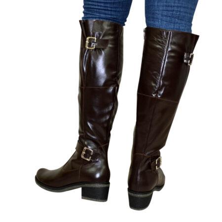 Сапоги ботфорты женские зима осень на широком каблуке, натуральная коричневая кожа