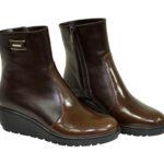 Ботинки женские коричневые кожаные зимние на танкетке