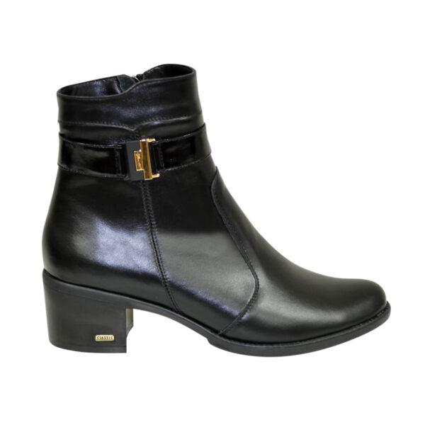 Полуботинки женские зимние на устойчивом каблуке, натуральная черная кожа