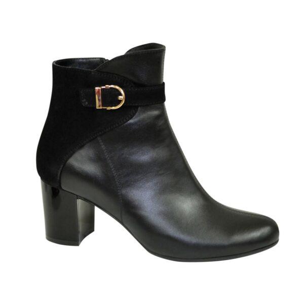 Ботинки женские черные зимние на невысоком каблуке