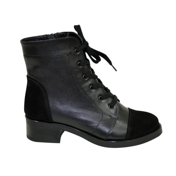 Ботинки черные женские демисезонные на устойчивом каблуке, натуральная кожа и замша