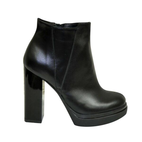Ботинки демисезонные женские на устойчивом каблуке, натуральная черная кожа