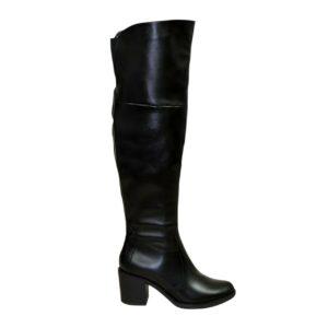 Ботфорты зима осень кожаные на устойчивом каблуке, цвет черный