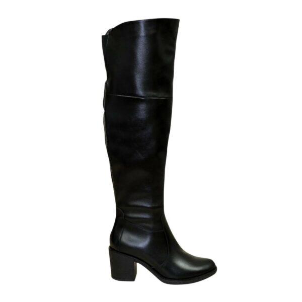 Ботфорты зимние кожаные на устойчивом каблуке, цвет черный