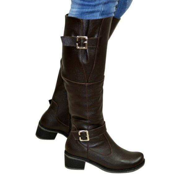 Сапоги женские демисезонные на каблуке, натуральная коричневая кожа флотар