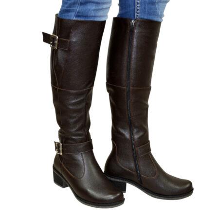 Сапоги ботфорты женские осень зима на каблуке, натуральная коричневая кожа