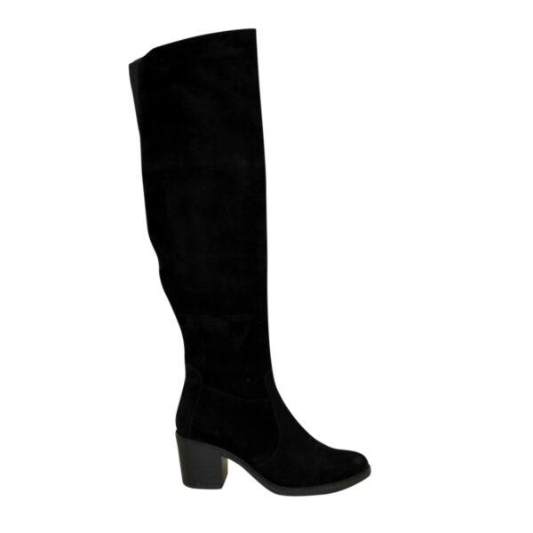 Ботфорты демисезонные замшевые на устойчивом каблуке, цвет черный