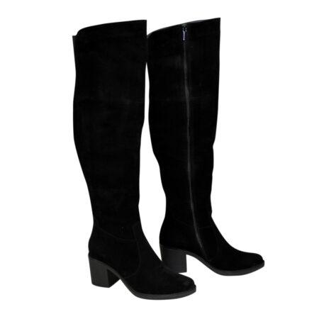 Ботфорты осень зима замшевые на устойчивом каблуке, цвет черный