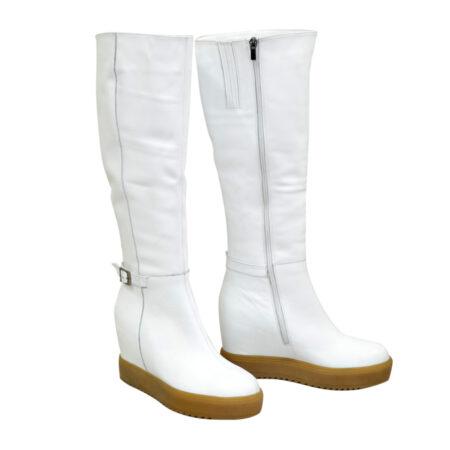 Сапоги белые кожаные женские на скрытой платформе, осень зима