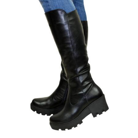 Женские кожаные сапоги зима осень на утолщенной тракторной подошве, цвет черный