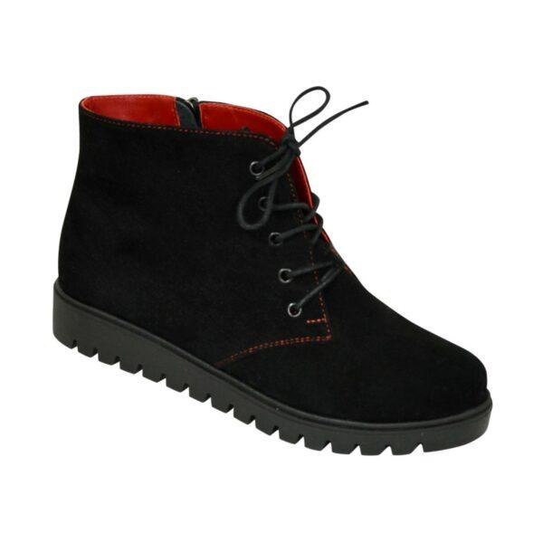 Ботинки демисезонные женские черные замшевые на шнуровке