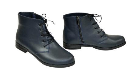 Ботинки женские кожаные синие на шнуровке, низкий ход