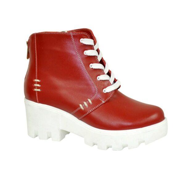 Ботинки женские демисезонные кожаные на шнуровке, красный цвет