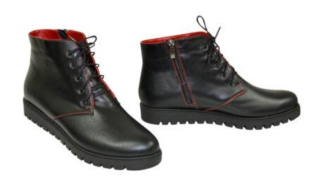 Ботинки женские кожаные на шнуровке осень зима, цвет черный/красный