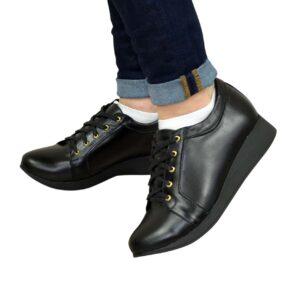 Кроссовки женские кожаные черные на утолщенной подошве, с мягким кантом и мягким языком