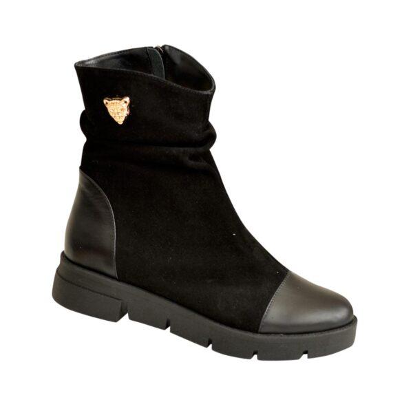 Ботинки женские замшевые зимние коричневые на утолщенной подошве