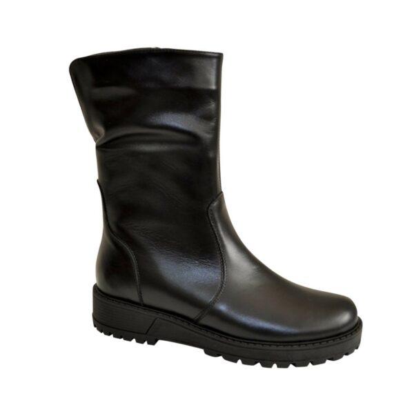 Ботинки кожаные черные женские демисезонные на утолщенной подошве