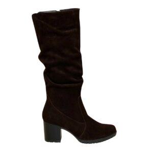 Сапоги женские осень зима коричневые замшевые. на устойчивом каблуке