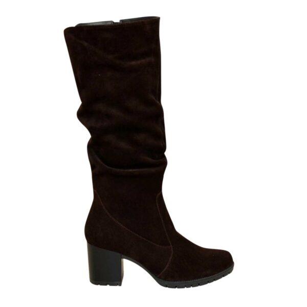 Сапоги женские демисезонные коричневые замшевые на устойчивом каблуке