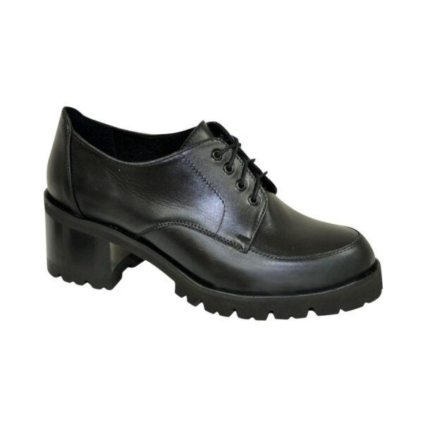Туфли женские на невысоком каблуке, натуральная черная кожа