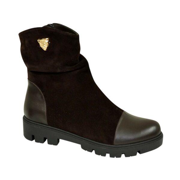 Ботинки женские замшевые зимние коричневые на тракторной подошве