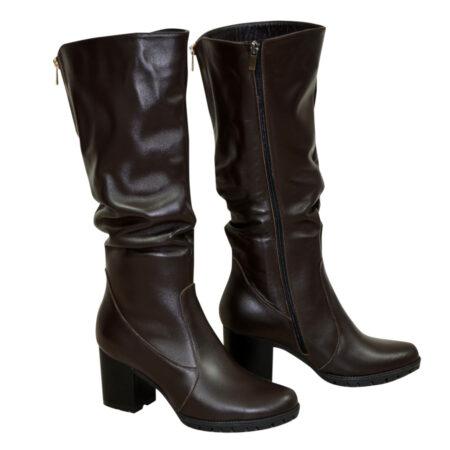 Сапоги женские коричневые кожаные зима осень на устойчивом каблуке