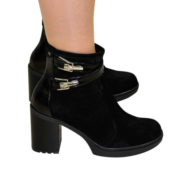 Женские ботинки зимние на устойчивом каблуке, натуральная замша и лаковая кожа