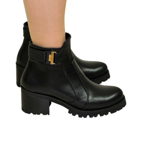 Ботинки женские зимние на невысоком каблуке, натуральная черная кожа
