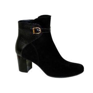 ботинки женские зимние осенние замшевые на невысоком каблуке, цвет черный