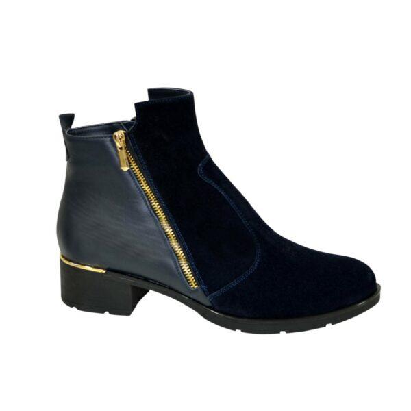 Полуботинки синие женские зимние на невысоком каблуке, натуральная замша и кожа