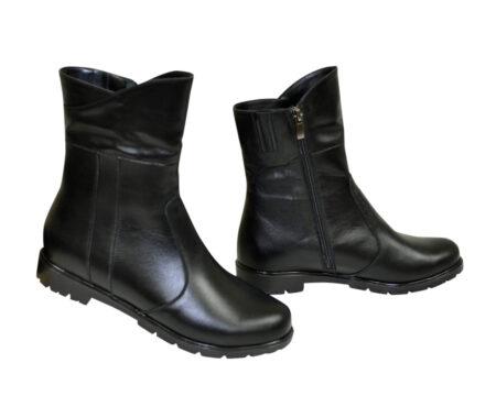 женские ботинки из натуральной кожи на низком ходу,цвет черный/демисезон-зима