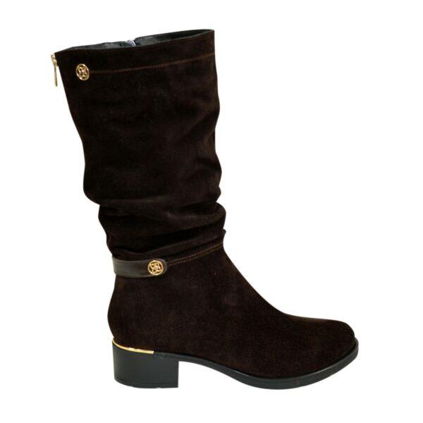 Сапоги женские демисезонные на устойчивом каблуке, натуральная коричневая замша