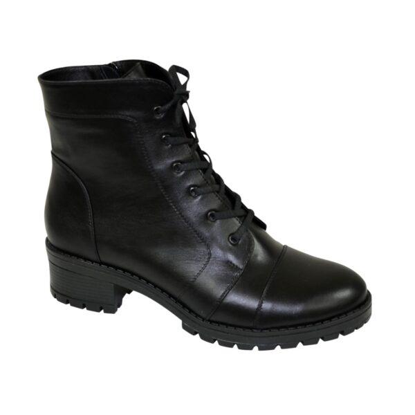Ботинки черные женские кожаные зимние на устойчивом каблуке
