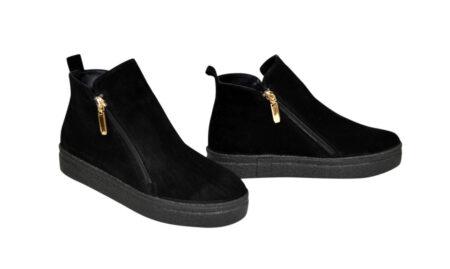 Ботинки женские демисезон-зима из натуральной замши на утолщенной подошве, цвет черный