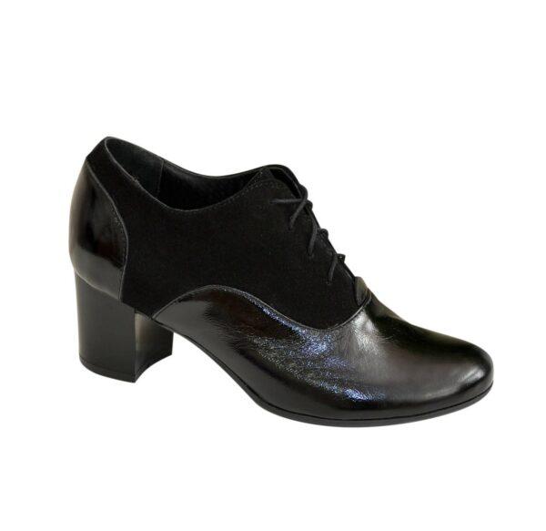Туфли женские на устойчивом каблуке, натуральная замша и лак