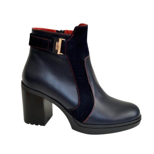 Ботинки синие женские зимние на устойчивом каблуке, натуральная кожа и замша