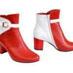 Женские кожаные ботинки зимние на невысоком каблуке, цвет белый/красный
