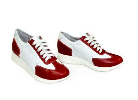 Кроссовки кожаные женские на утолщенной подошве, с мягким кантом и мягким языком красный/белый цвет