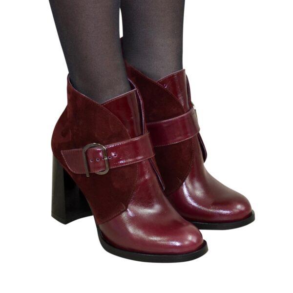Ботинки бордовые зимние женские на устойчивом каблуке, натуральная кожа и замша