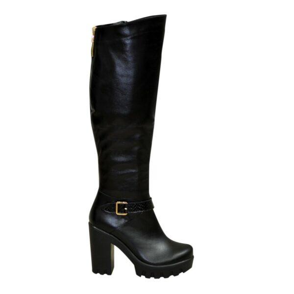 Высокие черные кожаные сапоги зимние на устойчивом каблуке