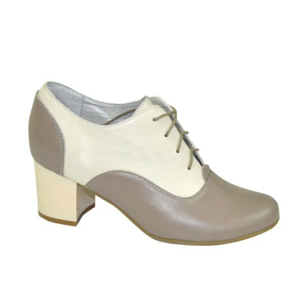 Туфли женские кожаные на устойчивом каблуке, цвет визон/бежевый