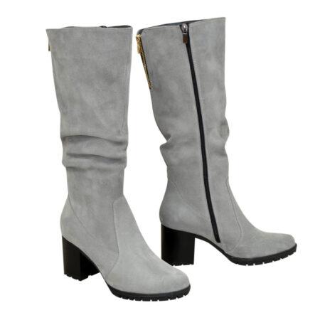 Сапоги женские серые замшевые зима осень на устойчивом каблуке