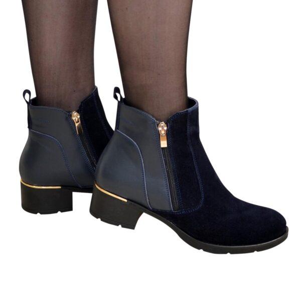 Ботинки синие женские демисезонные на каблуке