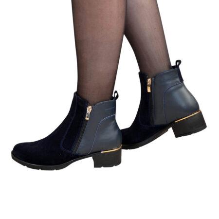Ботинки замшевые синие женские зима осень, на каблуке