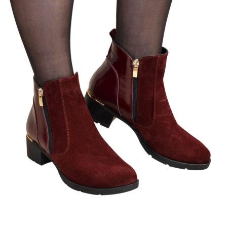 Ботинки бордовые женские зима осень на устойчивом каблуке, натуральная кожа и замша